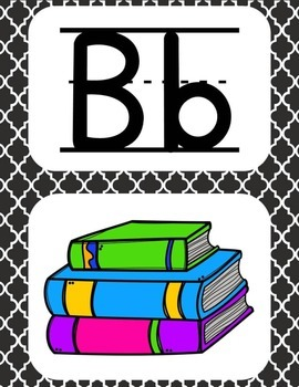 Alphabet Posters~Black and White Quarterfoil