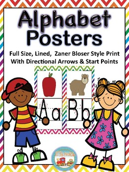 Alphabet Posters *Full Size, Lined Zaner Bloser, Directional Arrows, Chevron