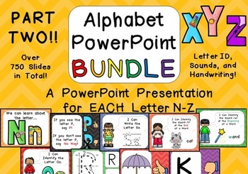 Alphabet PowerPoint BUNDLE- PART TWO- Letters N-Z Letters, Sounds, Handwriting