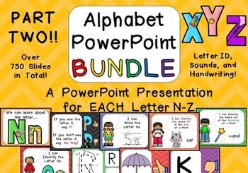 Alphabet PowerPoint BUNDLE- PART TWO- Letters N-Z Letters,