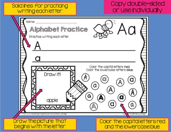 Alphabet Practice #2 (Write, Draw, Capital/Lowercase ID, Sound, Sequence)