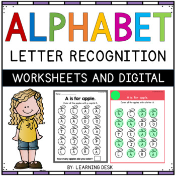 Alphabet Worksheets A-Z Kindergarten - Letter Recognition (Find and ...