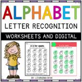 Alphabet Worksheets Letter Recognition Beginning Pre-K Kindergarten Phonics