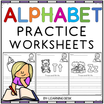 Alphabet Worksheets A Z Kindergarten Trace And Write By Learning Desk