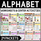 Alphabet Worksheets | Letter Recognition Distance Learning Packet Kindergarten