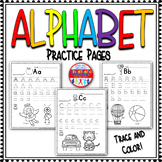 Alphabet Practice Pages A-Z: Trace and Color