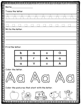 Alphabet Practice Pages- Tracing, Writing, Coloring, Beginning Sounds and More!