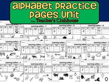 Alphabet Practice Pages Unit from Teacher's Clubhouse