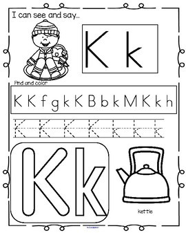 WINTER Alphabet Practice Printables - Recognition, Tracing and Beginning Sounds