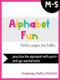 Alphabet Practice Sheets M-S