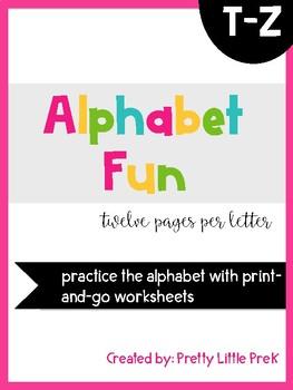 Alphabet Practice Sheets T-Z