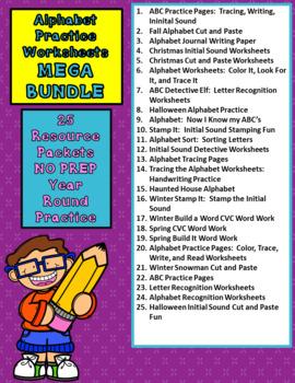 ENGLISH Alphabet Practice Worksheets MEGA BUNDLE