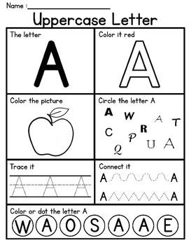 Alphabet Letter Worksheets (Uppercase) - No Prep
