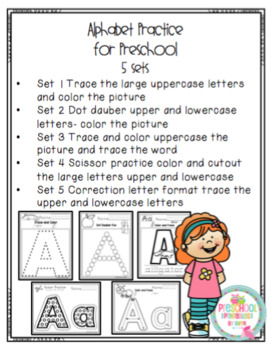 Alphabet Practice for Preschool 5 Sets