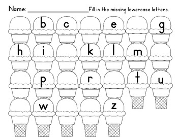 Alphabet Practice with Missing Uppercase & Lowercase Letters on Ice Cream Cones