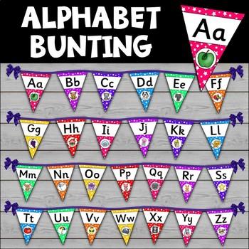 Alphabet Precursive Font Bunting Kit {UK Teaching Resources}