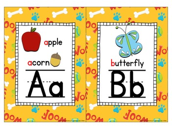 Alphabet ~ Primary and Cursive ~ Puppy background