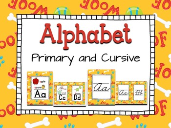 Alphabet ~ Primary and Cursive ~ Puppy background