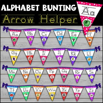 Alphabet Print Arrow Helper Font Bunting Kit Classroom Decor