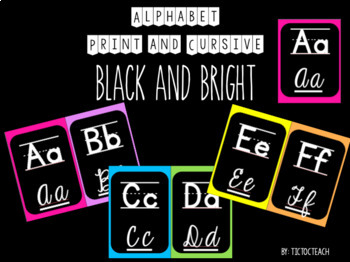 Alphabet Print and Cursive for Wall - Black and Bright