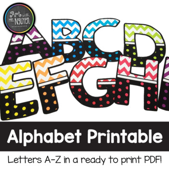 Colorful Chevron and Dots Alphabet Printable