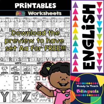 Back to School - Alphabet Printables - English Set