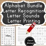 Alphabet Printing, Letter Sounds and Letter Recognition Bundle