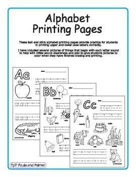 Alphabet Printing Pages - ball and stick
