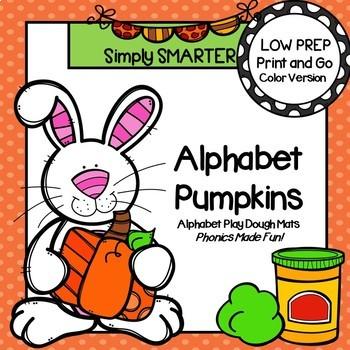 Alphabet Pumpkins:  LOW PREP Pumpkin Themed Letter Play Dough Mats