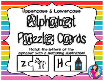 Alphabet Puzzle Cards - A Matching Game - JUMBO-SIZED (Uppercase and Lowercase)