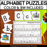 Alphabet Puzzle Center | Includes BW Version & Recording Sheet