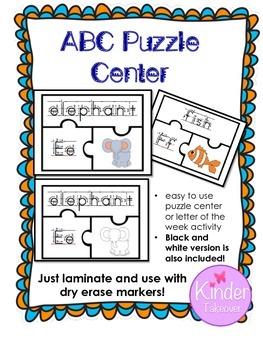 Alphabet Puzzle Center, Letter of the Week Activity, Handw