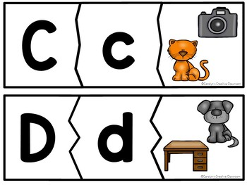 Alphabet Puzzle - Literacy Center - Capital & Lowercase Letters and pictures