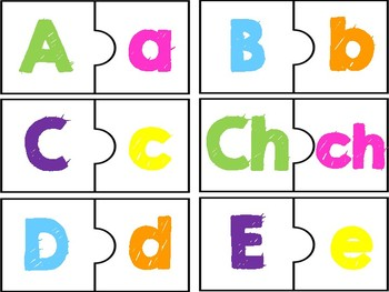 Puzzle in Spanish Match upper case with lower case letters