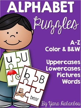 Alphabet Puzzles {A-Z Picture, Word, Uppercase & Lowercase Match}