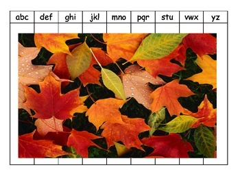 Alphabet Puzzles Fall Halloween Leaves Pumpkins Thanksgiving ESL hands-on