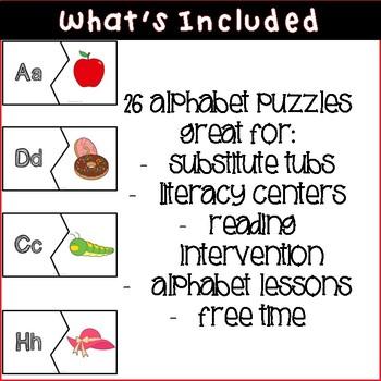 Alphabet Puzzles Literacy Center #filluponluck