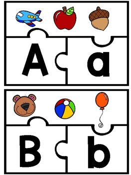Alphabet Puzzles with Upper and Lower Case Letters