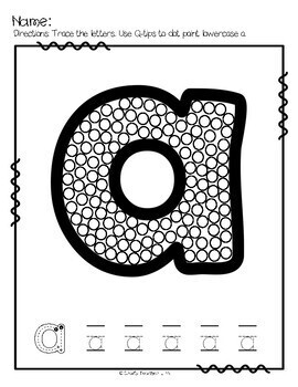 Q-tip Painting Alphabet Lowercase Letters and Fine Motor Skill