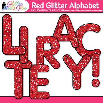 Red Glitter Alphabet Clip Art {Great for Classroom Decor & Resources}