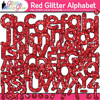 Red Glitter Alphabet Clip Art {Great for Classroom Decor &