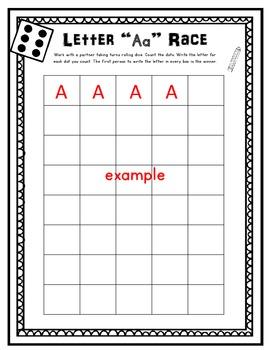 Alphabet Race! Literacy Center Game (26 Printables)