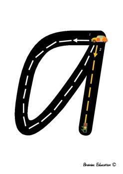 Alphabet Racetrack Letters - Lowercase - Australian Font