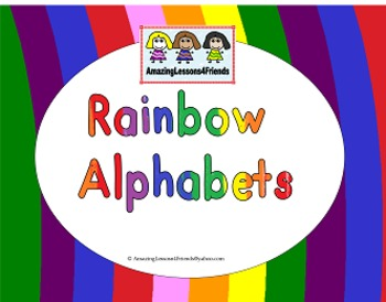 Alphabet Rainbow Color and BW Letters