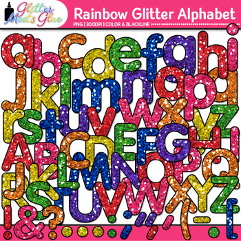 Rainbow Glitter Alphabet Clip Art | Great for Classroom Decor & Resources