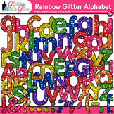 Rainbow Glitter Alphabet Clip Art {Great for Classroom Dec