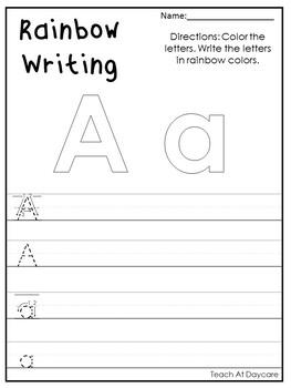 alphabet rainbow writing worksheets preschool kdg phonics and literacy. Black Bedroom Furniture Sets. Home Design Ideas
