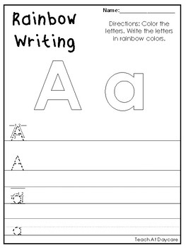 alphabet rainbow writing worksheets preschool kdg phonics and literacy. Black Bedroom Furniture Sets. Home Design Ideas