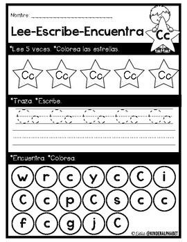 Alphabet Read, Write, Find {Spanish only}
