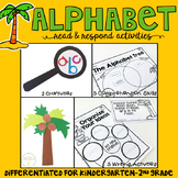 Alphabet: Reading Comprehension, Writing and Craftivities